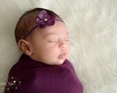 Itty Bitty Purple Hydrangea Flower Baby Band with Pearl---Newborn---Photography Prop