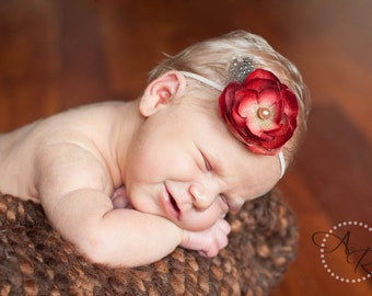 Dainty Red Ranunculus with Feathers and Pearl on Tan Headband