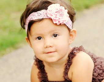 Pink Satin Blossom with OVER the Top PINK Bling on Pink LACE Headband