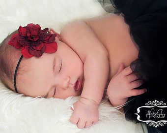 Red Delphinium Bloom Baby Band with Netting and Black Bead