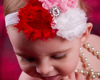 Sweet Valentine Shabby Chic Flower Headband with Jewel--PINK--Red--WHITE