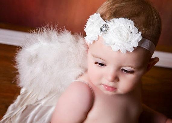 White SHABBY Chic Rosette Flower Bow Headband