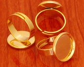 10pcs 16mm BRASS base Trays Circle Adjustable golden blank ring