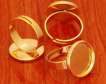 10pcs 16mm BRASS base Trays Circle Adjustable golden blank ring