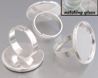 20pcs 23mm BRASS base Trays Circle Adjustable silver tone blank ring