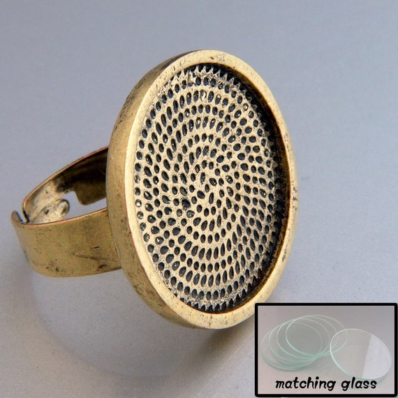40pcs 25mm Adjustable brass round Ring Blank