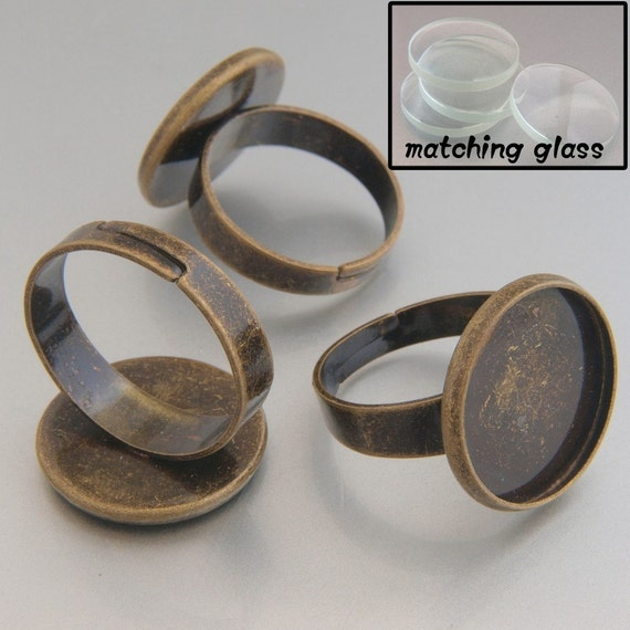 20pcs 16mm BRASS Base Trays Circle Adjustable antique bronze blank ring