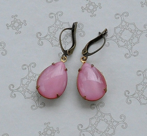 Pink Vintage Moonstone Earrings on Brass