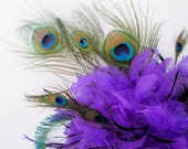 Violet Purple Peacock Feather Bouquet-RESERVED FOR USER DAYNIE4EVR