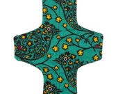 Long cloth menstrual pad with leakproof layer - Teal birds - AIO