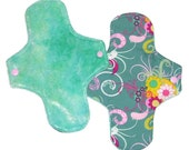Cloth Pantyliner (menstrual pad) - bamboo velour topped - seafoam posies