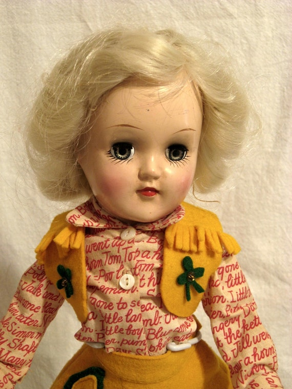 Ideal Toni Doll  Platinum Blond 14 inch in Cowgirl Outfit 1950s Vintage