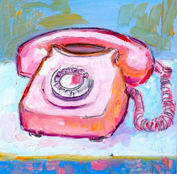pink phone painting 6x6