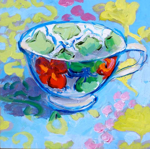 flower cup painting 6x6