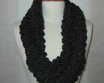 Soft and Plush Charcoal Grey Gray Cowl Scarf Neck Warmer