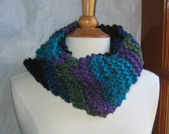 Turquoise, Purple and Black Striped Infinity Cowl Scarf Neck Warmer