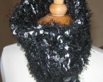 Thick and Lush Hand Knit Neck Warmer Cowl in Black and White
