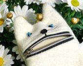 Ipod case, camera zipper pouch, Hungry white cat