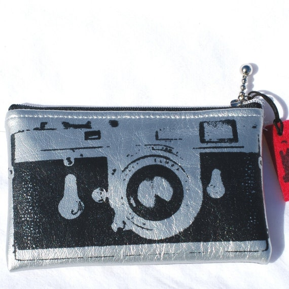 Camera case Zipper pouch Silver Leica