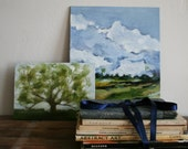Original Painting Oil of Landscape with big oak tree