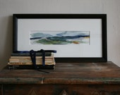 Original painting of New England coast on paper Framed in Rustic Black frame with white mat