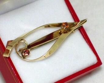 Gold gemstone brooch pin 8K Vintage estate yellow gold garnet citrine pin brooch freeform style womens fine jewelry