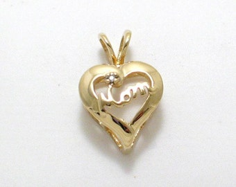 Solid gold dainty open heart diamond Mom Pendant charm 4 necklace 10k yellow gold filigree cut out design fine jewelry