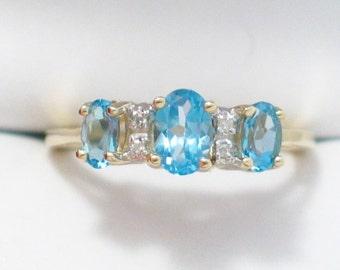 SALE 10k yellow gold blue topaz diamond accent gemstone ring band size sz 5.75