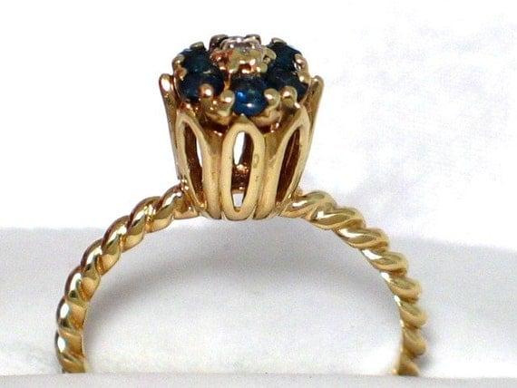 Vintage 10k Gold Blue Sapphire Diamond Tulip By