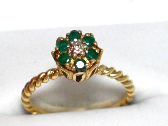 Vintage 10k Gold Green Emerald Diamond Tulip By