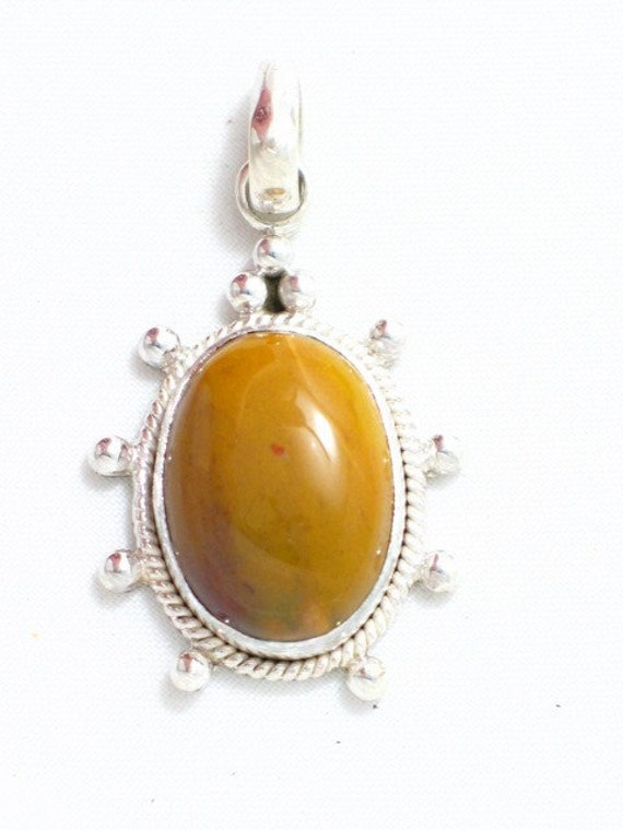 agate cabochon stone pendant w/ beaded accemts 925 sterling silver metal