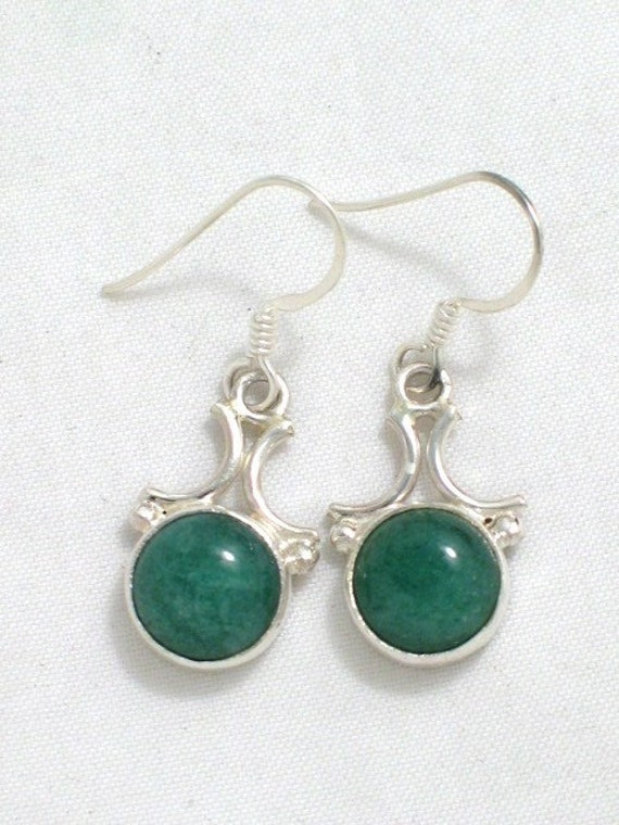 Green aventurine stone bead and arch setting french wire earrings 925 sterling silver