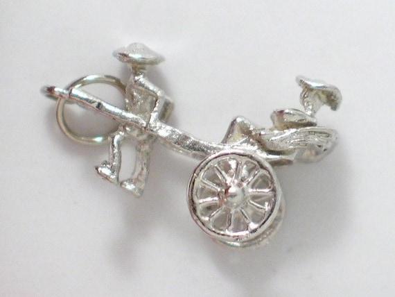 pre owned vintage estate 3-D asian rickshaw theme 925 sterling silver bracelet charm or pendant
