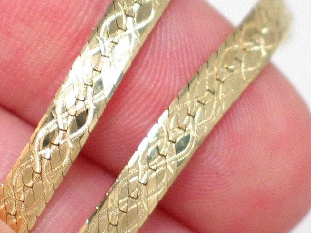 Italian 14kt Solid Gold Herringbone Bracelet By