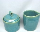 Handmade Sugar Bowl and Creamer in Turquoise
