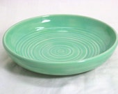 Handmade Stoneware Shallow  Mint Green Bowl