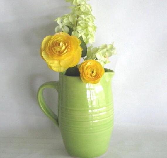 Handmade Lime Green Stoneware Pitcher