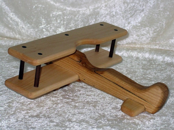 Large wooden biplane airplane toy or mobile by