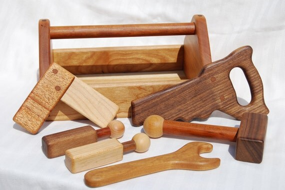 heirloom children 39 s wooden toy tool set by ahigherplanedesigns