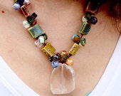 Hand Tied Multiple Colored Necklace with Clear Quartz Pendant