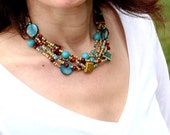 Multi Strand Necklace - Beautiful  in Gold, Turquoise, Red and More