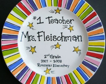 Hand Painted Plate PeRsonAliZed TEACHER Coach Mentor GIFT