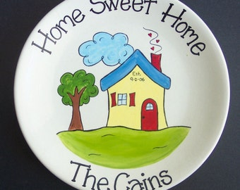 Hand Painted, Personalized, House Warming, Wedding Gift Plate