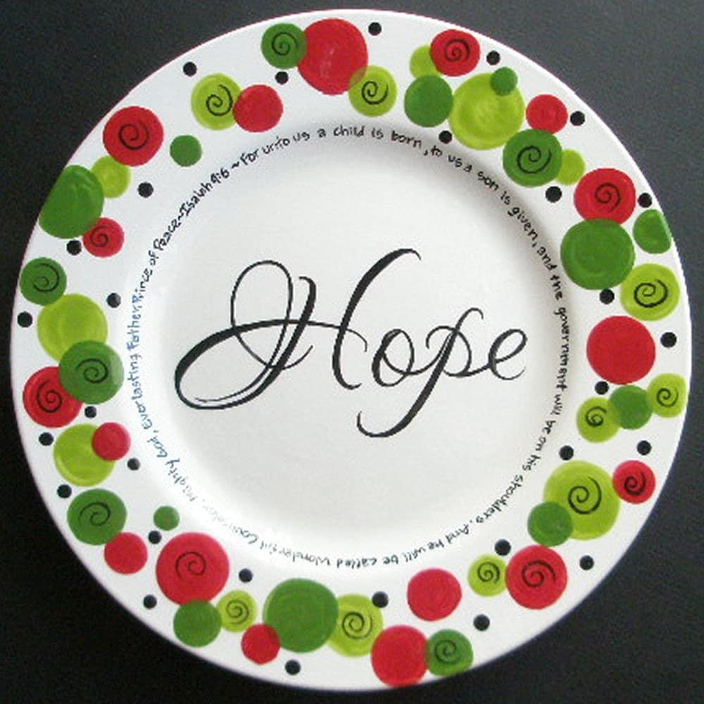 Custom personalized hope christmas plate for How to decorate a ceramic plate