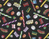 1 yard Cotton Fabric Christmas Candy on Black By The Yard