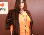 vintage fur stole ... brown fur size large medium