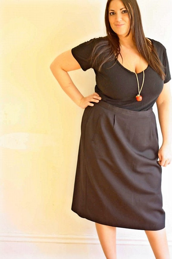 vintage skirt ... plus size black pencil skirt