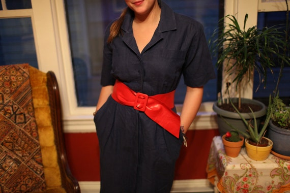vintage dress navy shirt dress size M size L denim jean SALE