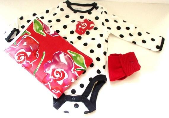 SALE Designer Fabric Rose applique onesie and burp cloth