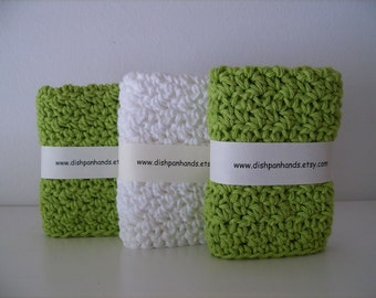 3 Dishcloth's / Facecloth's - Apple/White
